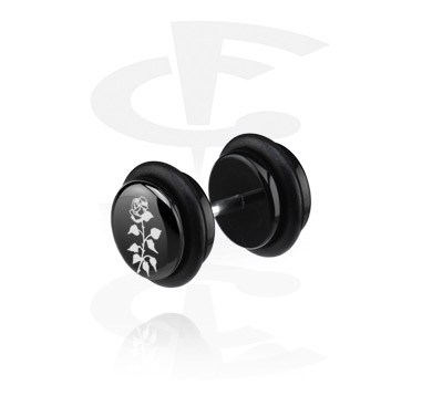 Fake Piercings, Black Fake Plug with Flower Design, Acrylic ,  Surgical Steel 316L