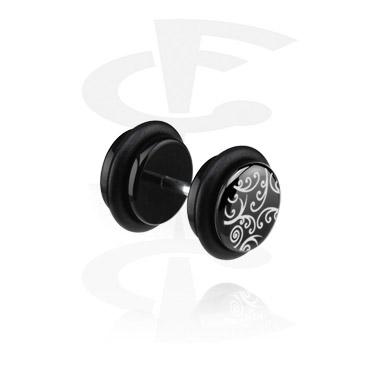 Fake Piercings, Black Fake Plug (right ear), Acrylic