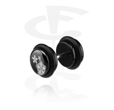 Lažni piercing nakit, Black Fake Plug (Right Ear), Acryl