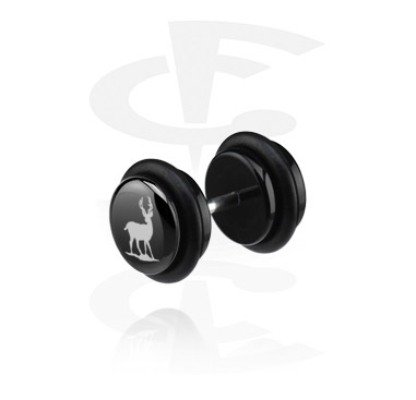 Lažni piercing nakit, Black Fake Plug (Right Ear), Acryl
