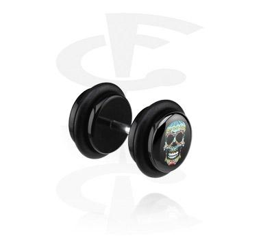 Falešné piercingové šperky, Černý falešný plug – lebka, Acryl