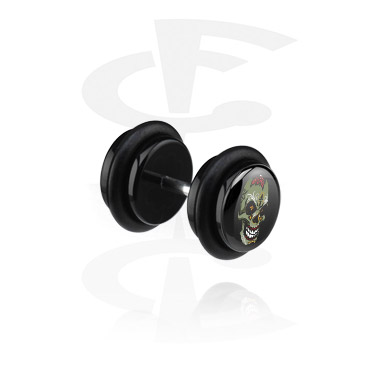 Fake Piercings, Black Fake Plug with Skull Design, Acrylic ,  Surgical Steel 316L