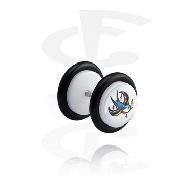 Fake Piercings, White Fake Plug with Bird Design, Acrylic ,  Surgical Steel 316L