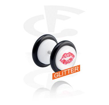 Imitacja biżuterii do piercingu, White Glitter Fake Plug, Acrylic