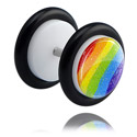 Fake Piercings, White Glitter Fake Plug, Acrylic