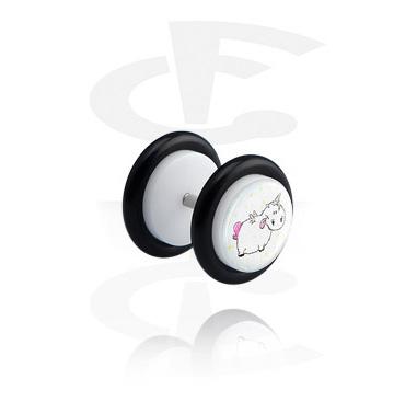 Fake Piercings, Witte glitter fake plug, Acryl