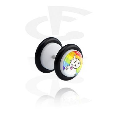 Falešné piercingové šperky, White Glitter Fake Plug, Acrylic