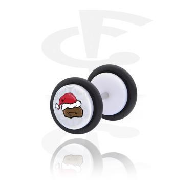 Fake Piercings, White Fake Plug with Winter Crapwaer Design, Acrylic