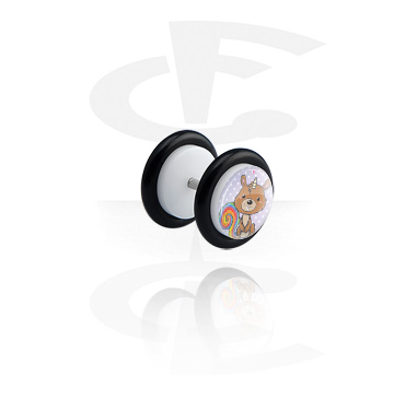 Fake Piercings, White Fake Plug with Crapwaer Design, Acrylic ,  Surgical Steel 316L