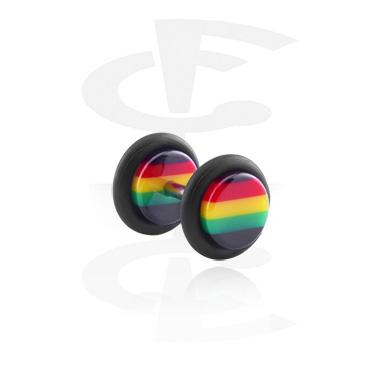 Fake Piercings, Fake Plug mit Rasta-Design, Acryl, Chirurgenstahl 316L