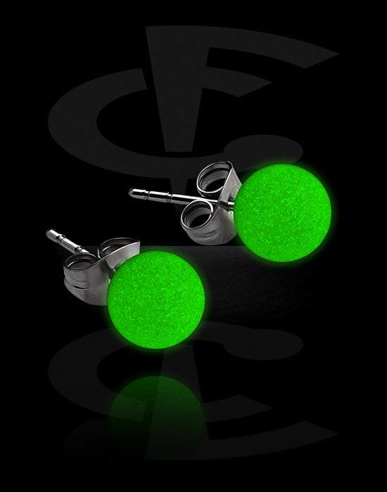 """Kolczyki, """"Glow in the Dark"""" Ear Studs, Stal chirurgiczna 316L, Akryl"""