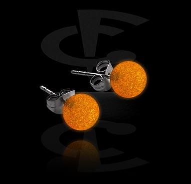 "Kolczyki, ""Glow in the Dark"" Ear Studs, Surgical Steel 316L, Acrylic"