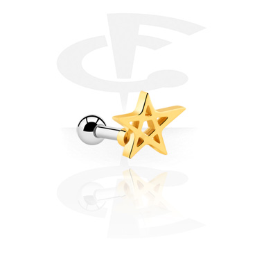 Helix / Tragus, Tragus Piercing, Surgical Steel 316L, Gold Plated Surgical Steel 316L