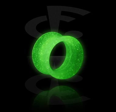 Tunnels & Plugs, Glow-in-the-Dark Double Flared Tunnel, Silicone