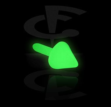 """""""Glow in the Dark""""-kartio sisäkierteiseen Bioflex-labret-koruun"""