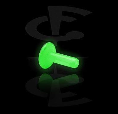 """""""Glow in the Dark"""" Labretstaafje voor accessoires met externe schroefdraad"""