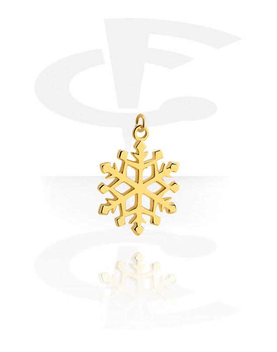 Palline, barrette e altro, Ciondolo con  fiocco di neve, Ottone con placcatura in oro