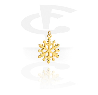 Balls & Replacement Ends, Charm with Snowflake Design, Gold Plated Surgical Steel 316L