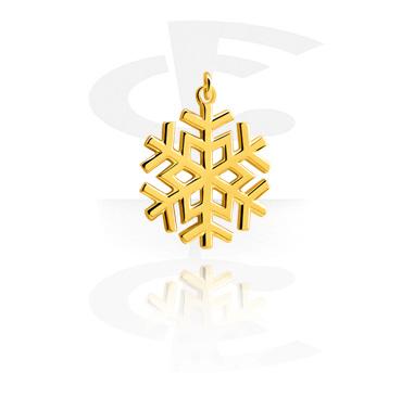 Bolas y Accesorios, Colgante con Diseño  de copo de nieve, Acero quirúrgico 316L chapado en oro