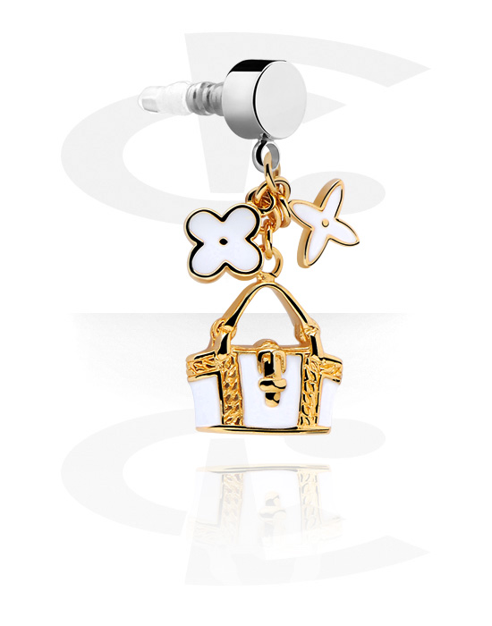 Phone Accessories, Earphone Plug Charm , Gold Plated Brass