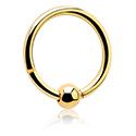 Kółka do piercingu, Hinged Continous Ring, Gold-Plated Surgical Steel