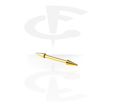 Barbellit, Barbell with Long Cones, Gold Plated Surgical Steel 316L