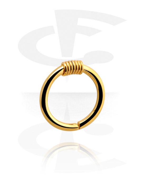Piercingringen, Continous Ring, Verguld chirurgisch staal 316L