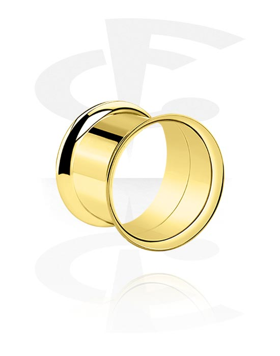 Tunneler & plugger, Double Flared Tunnel, Gold Plated Surgical Steel 316L