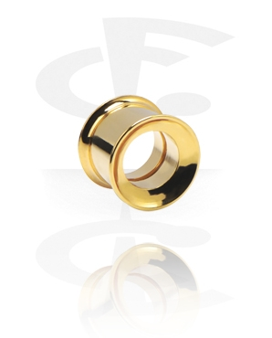 Tunnels & Plugs, Double Flared Flesh Tunnel, Gold Plated