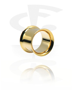 Tunnels & Plugs, Double Flared Tunnel, Gold Plated Surgical Steel 316L