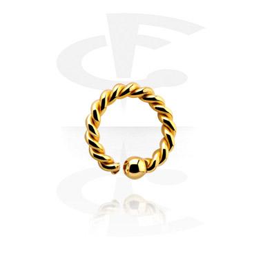 Kółka do piercingu, Ball closure ring z fixed ball, Gold Plated Surgical Steel 316L