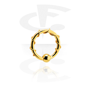 Piercingové kroužky, Ball closure ring s fixed ball, Gold Plated Surgical Steel 316L
