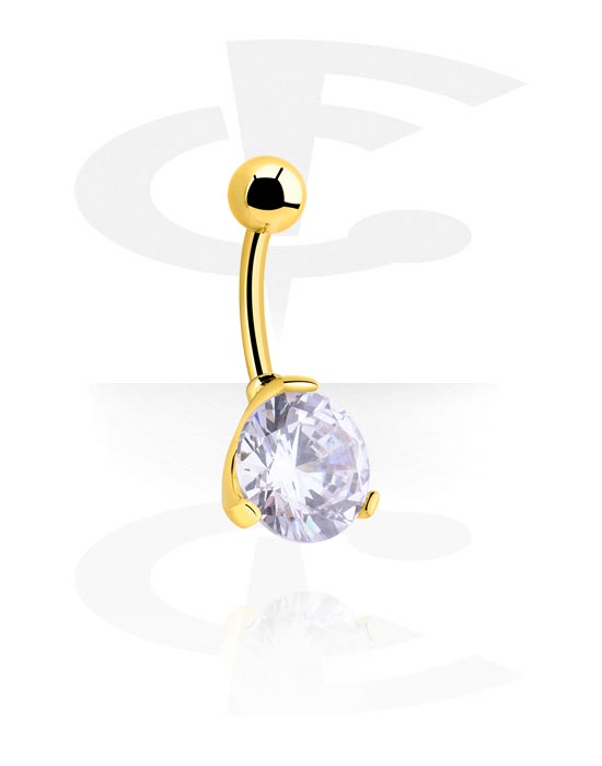 Curved Barbells, Fashion Banana, Gold Plated Surgical Steel 316L