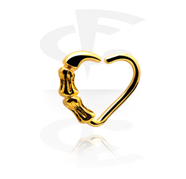 Kółka do piercingu, Heart-shaped Continuous Ring, Gold Plated