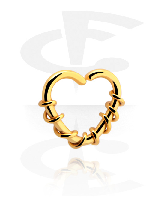Piercing Rings, Heart-shaped Continuous Ring, Gold Plated Surgical Steel 316L