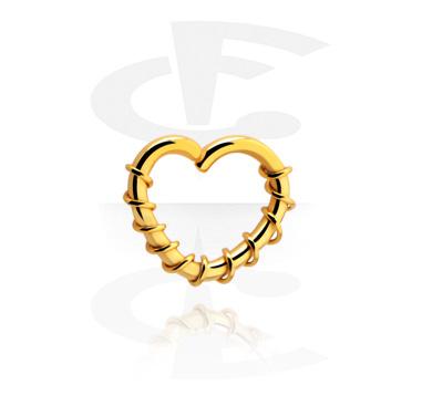 Kółka do piercingu, Heart-shaped Continuous Ring, Gold Plated