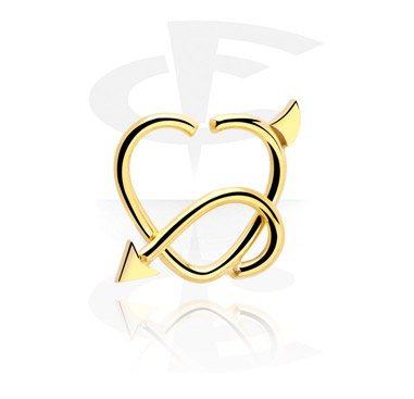 Piercing Rings, Heart-shaped Continuous Ring, Gold Plated