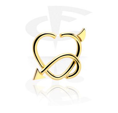 Piercingringar, Hjärtformad Continuous Ring, Förgylld