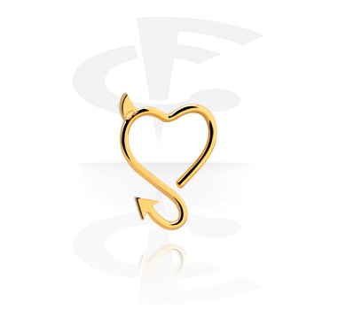 Piercingové kroužky, Heart-shaped Continuous Ring, Gold Plated