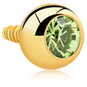 Bolas y Accesorios, Bola con brillante para barras con rosca interior de 1.2 mm, Acero quirúrgico 316L chapado en oro