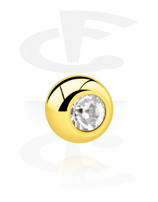 Palloja, nappeja ynnä muuta, Ball kanssa crystal stone, Kultapinnoitteinen kirurginteräs 316L