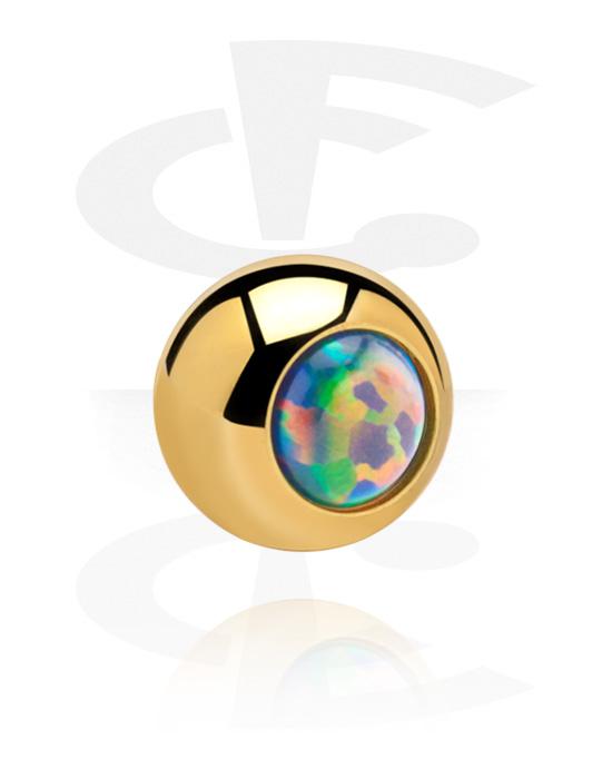 Palloja, nappeja ynnä muuta, Ball kanssa Synthetic Opal, Kultapinnoitteinen kirurginteräs 316L