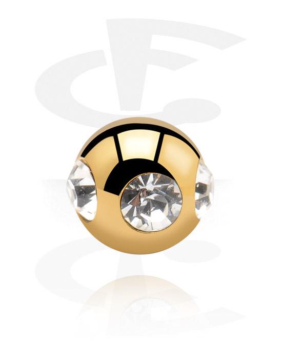 Kuličky, kolíčky a další, Ball s crystal stones, Pozlacená chirurgická ocel 316L