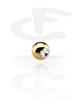Palline e Accessori, Pallina con brillantino, Gold Plated