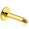 Balls & Replacement Ends, Labret Pin, Gold Plated Surgical Steel 316L