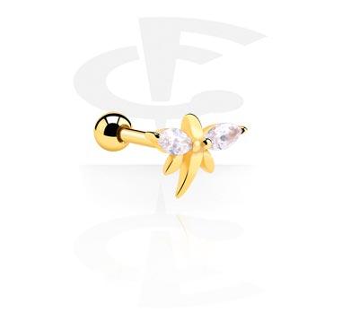 Helix / Tragus, Piercing para el tragus, Acero quirúrgico 316L chapado en oro