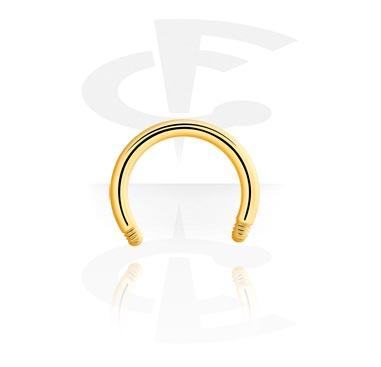 Palline e Accessori, Barretta circular barbell dorata, Gold Plated