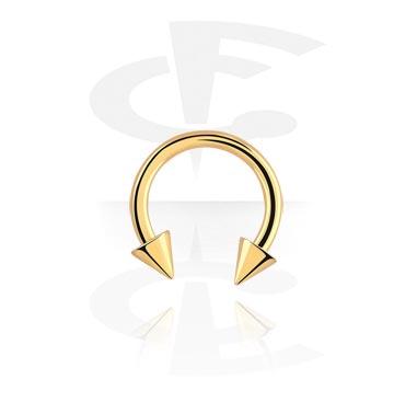 Hevosenkengät, Circular barbell kanssa cones, Gold Plated Surgical Steel 316L