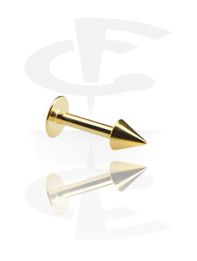 Labret de 1.2 mm banhado a ouro com cone