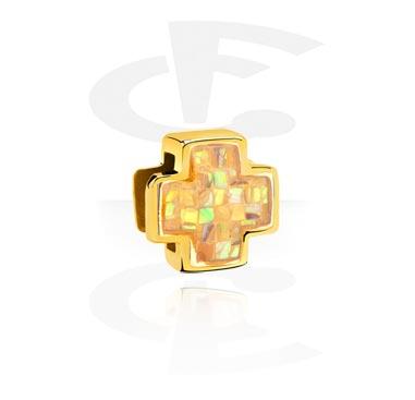 Koraliki płaskie, Flat-Bead for Flat-Bead Bracelets, Gold Plated